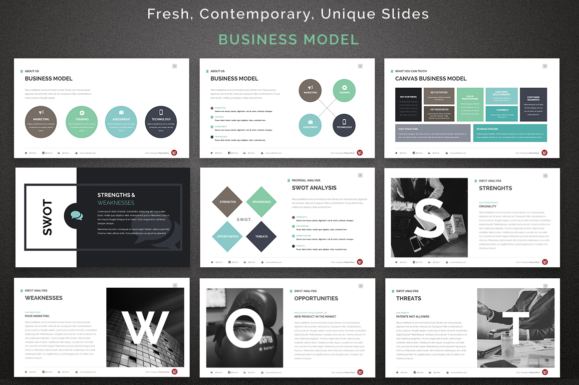 Complete Business PowerPoint Template - Fresh business canvas template ppt design