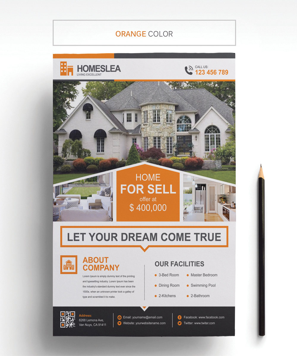 Homeslea - Real Estate Flyer Corporate Identity Template #67330