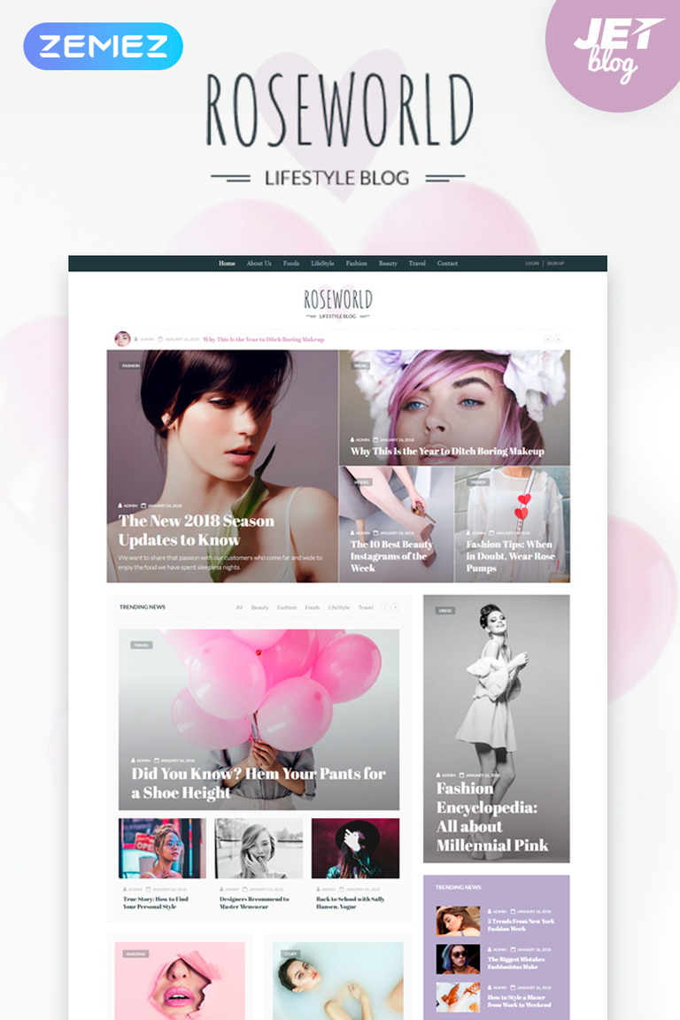 Roseworld - Lifestyle Blog WordPress Theme #67408