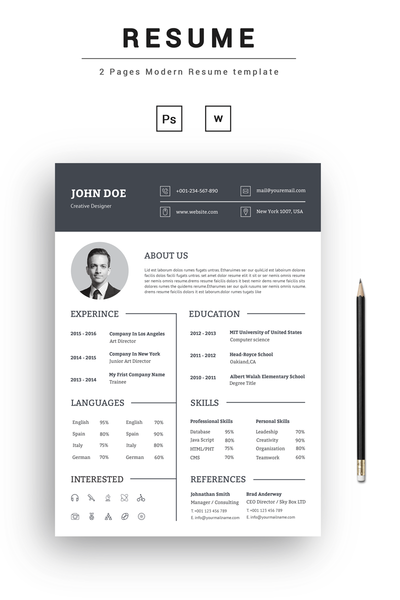 curriculum vitae john doe john doe creative resume template