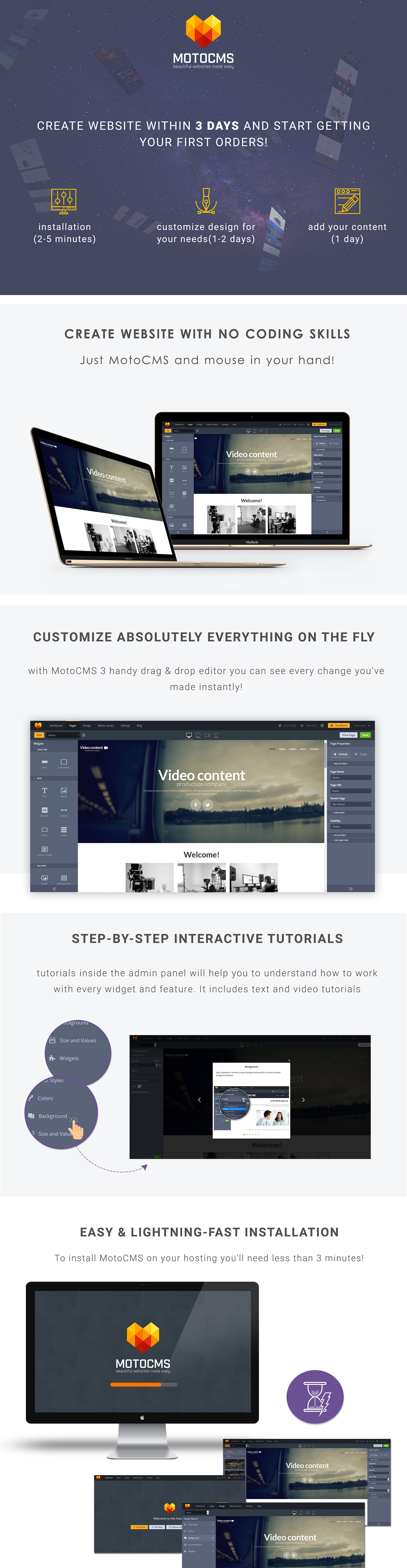 Video Content - Production Company Moto CMS 3 Template