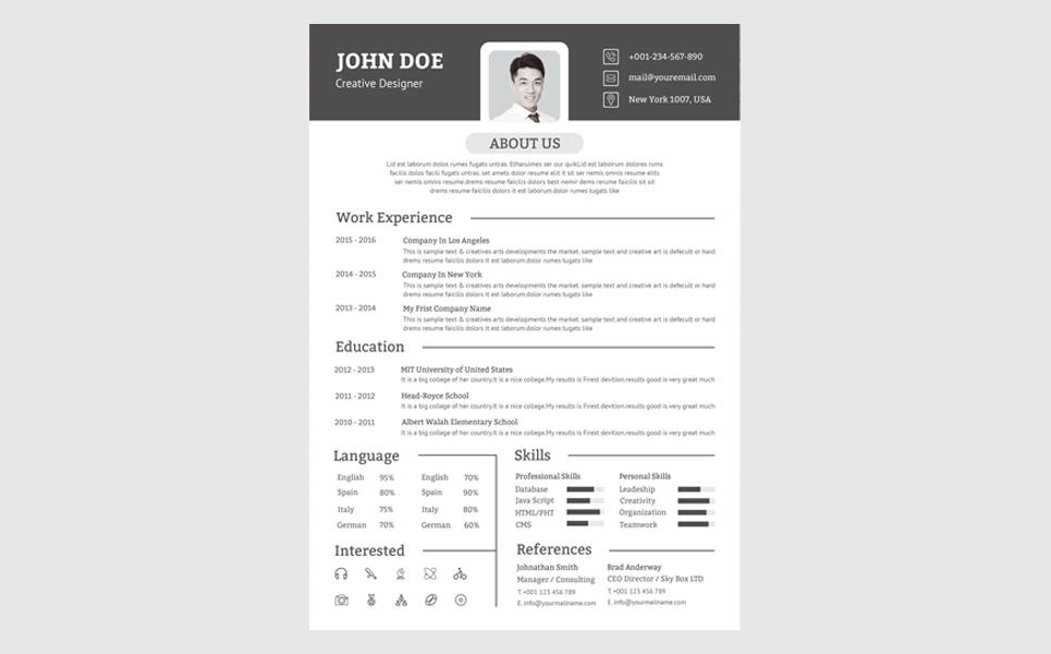 John Doe Modern Resume Template 73543