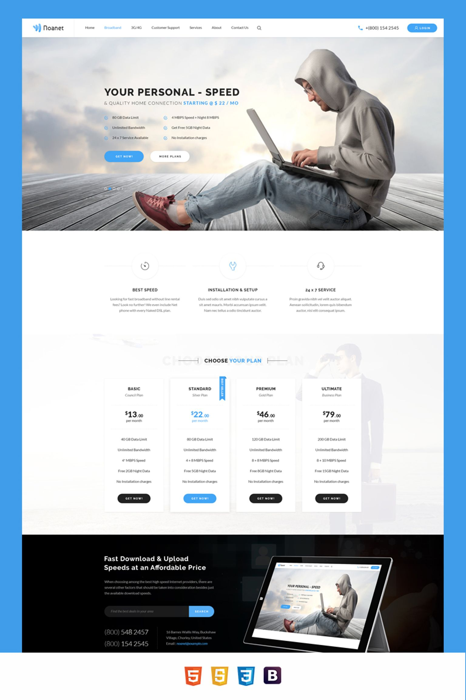 Noanet Internet Provider and Digital Network Website Template #64705