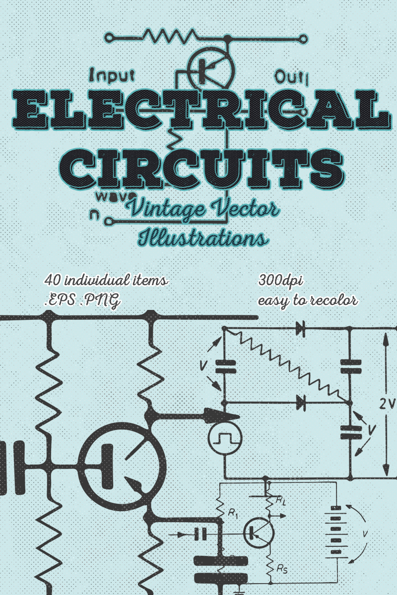 40 Vintage Electrical Circuits Vector Illustration #67549
