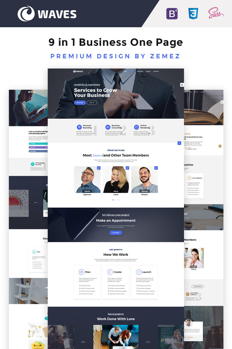Business one age pack html5 template waves 9 in 1 business one page website template big screenshot wajeb Choice Image