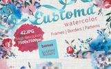 Beautiful Eustoma JPG Watercolor Set Bundle