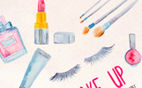 31 Make up and Cosmetics Watercolor Kit Illustration