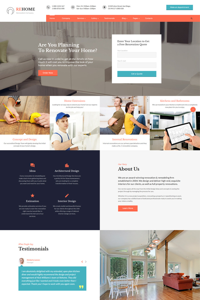 Renovation Multipage HTML Template