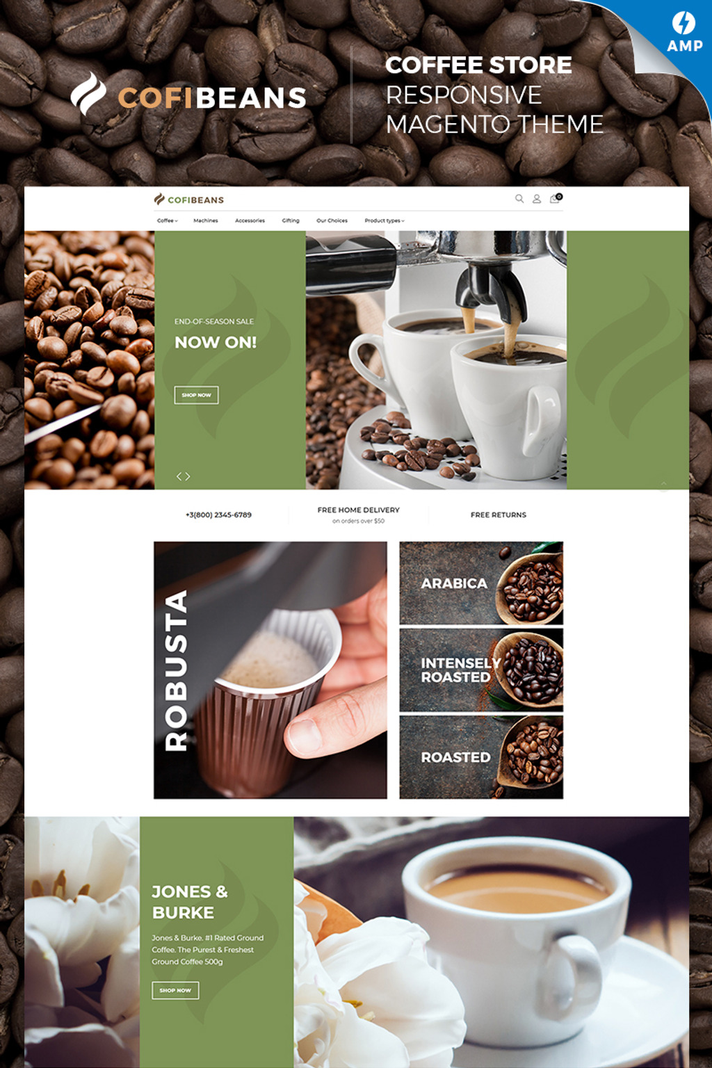 CofiBeans - AMP Coffee Shop Magento Theme Big Screenshot