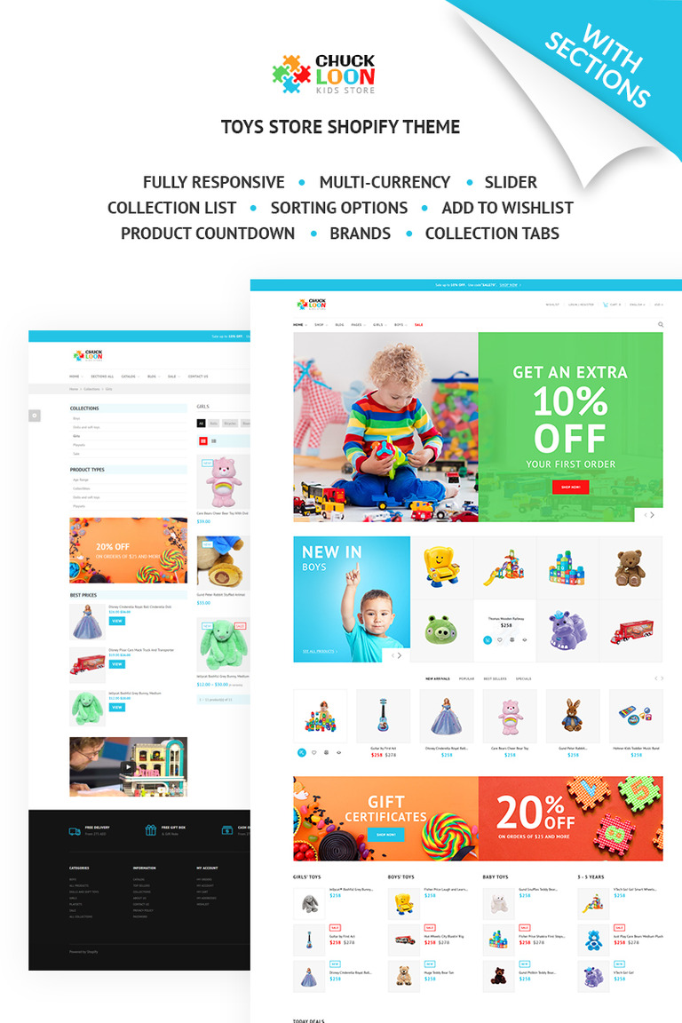 Chuck Loon Responsive Toys Children Clothes Online Store Shopify - Shopify page templates