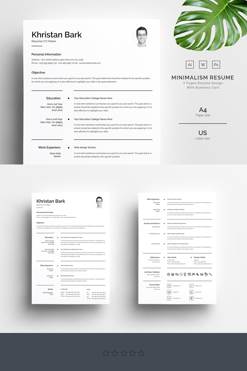 Khristan Bark Clean Resume Template 67633