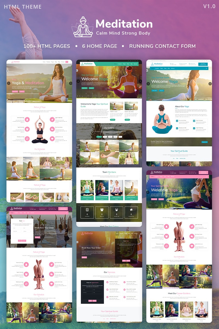 meditation yoga fitness meditation mobile responsive bootstrap