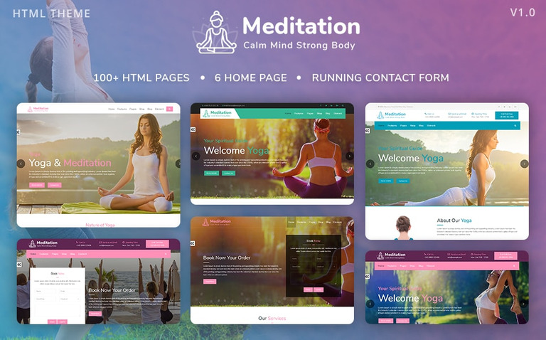 Meditation - Yoga, Fitness & Meditation Mobile Responsive Bootstrap ...