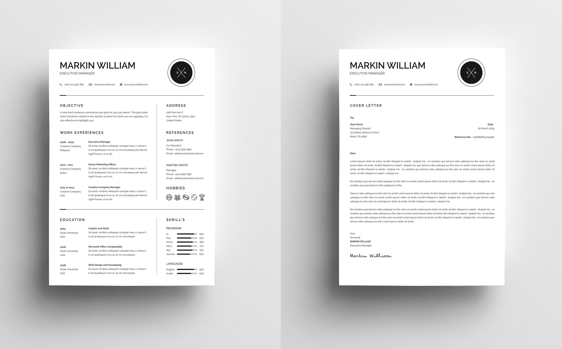markin william minimal resume template #67728