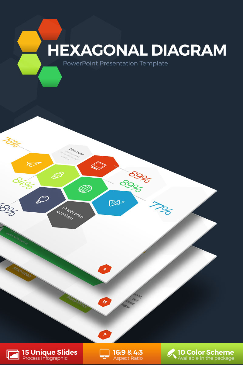Hexagonal powerpoint template 67896 toneelgroepblik