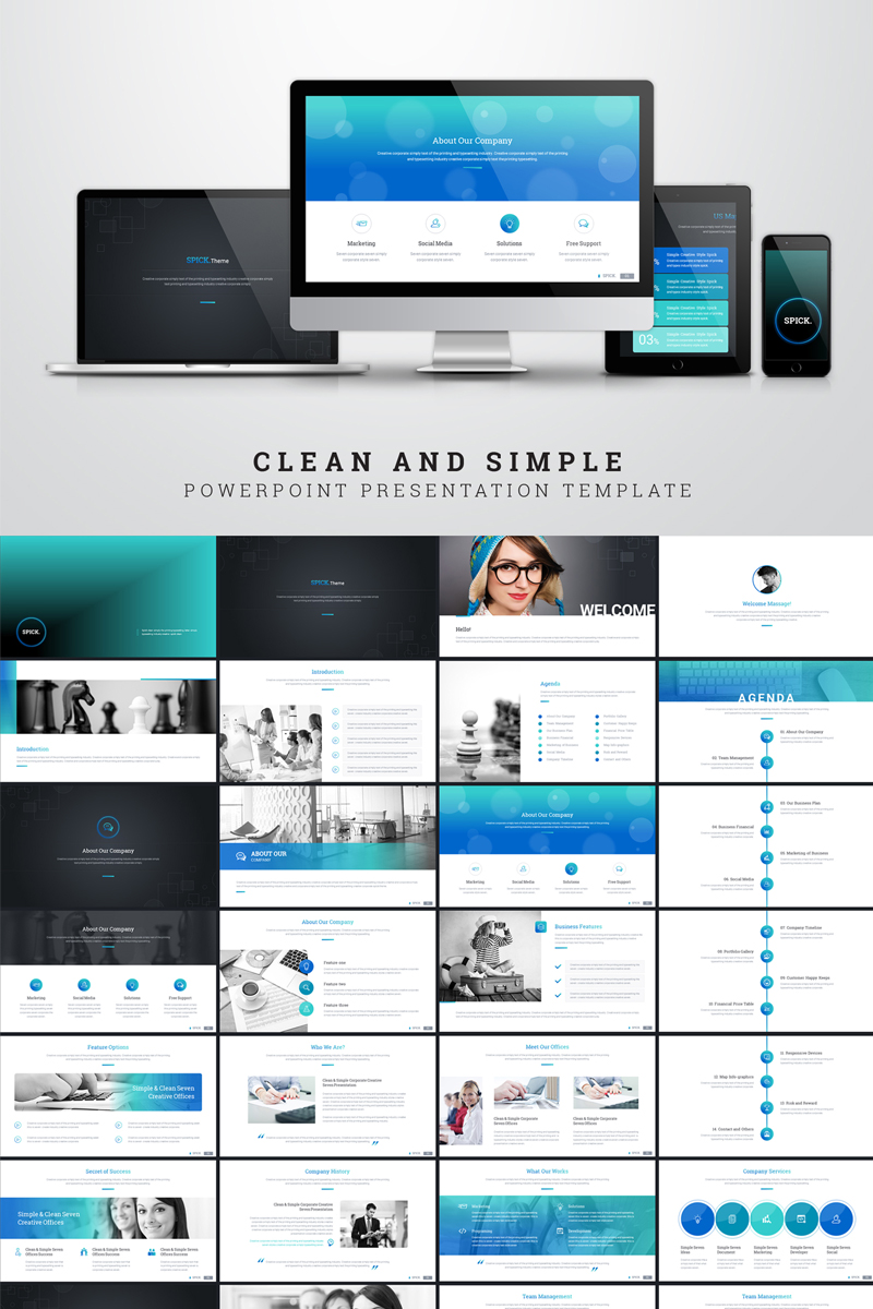 clean and simple presentation special topic powerpoint template 68318