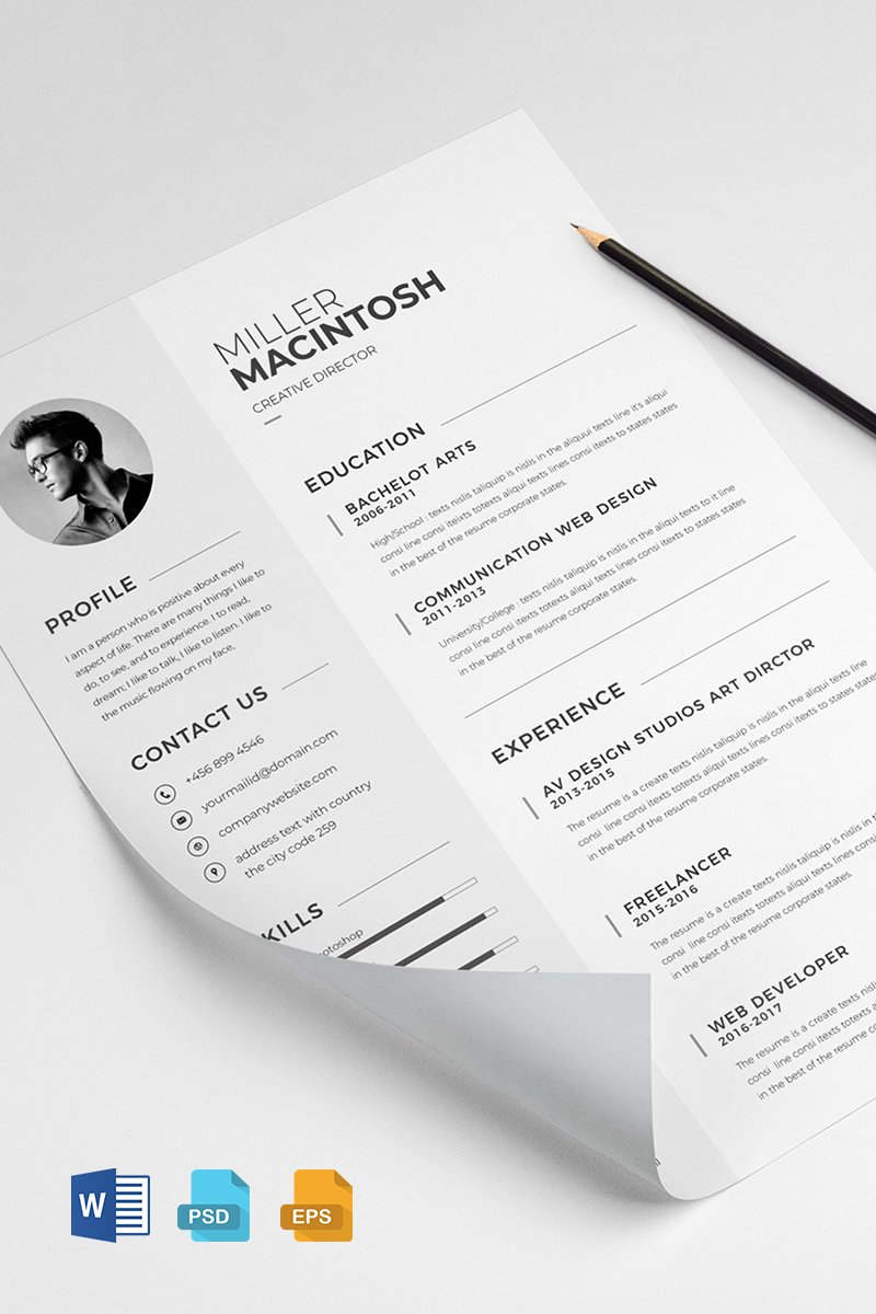 Miller Macintosh  Creative Resume Template