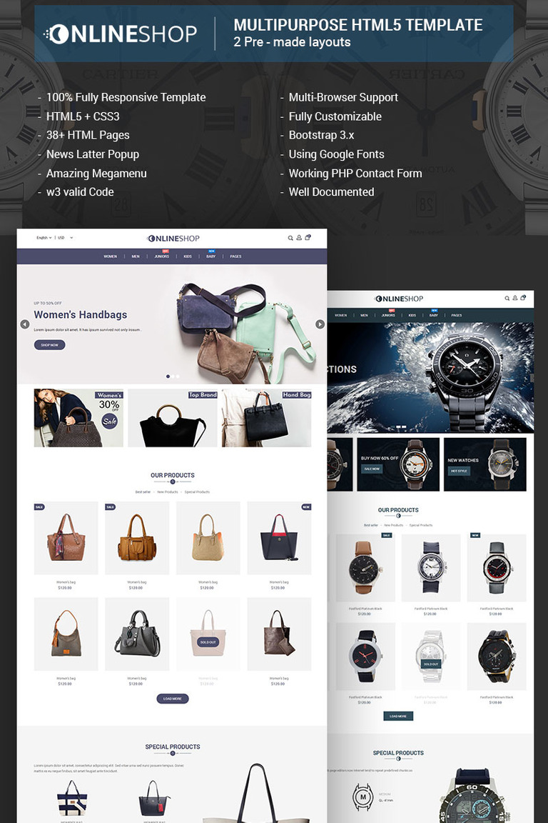 Onlineshop Responsive Multipurpose ECommerce HTML Website - Buy ecommerce website templates