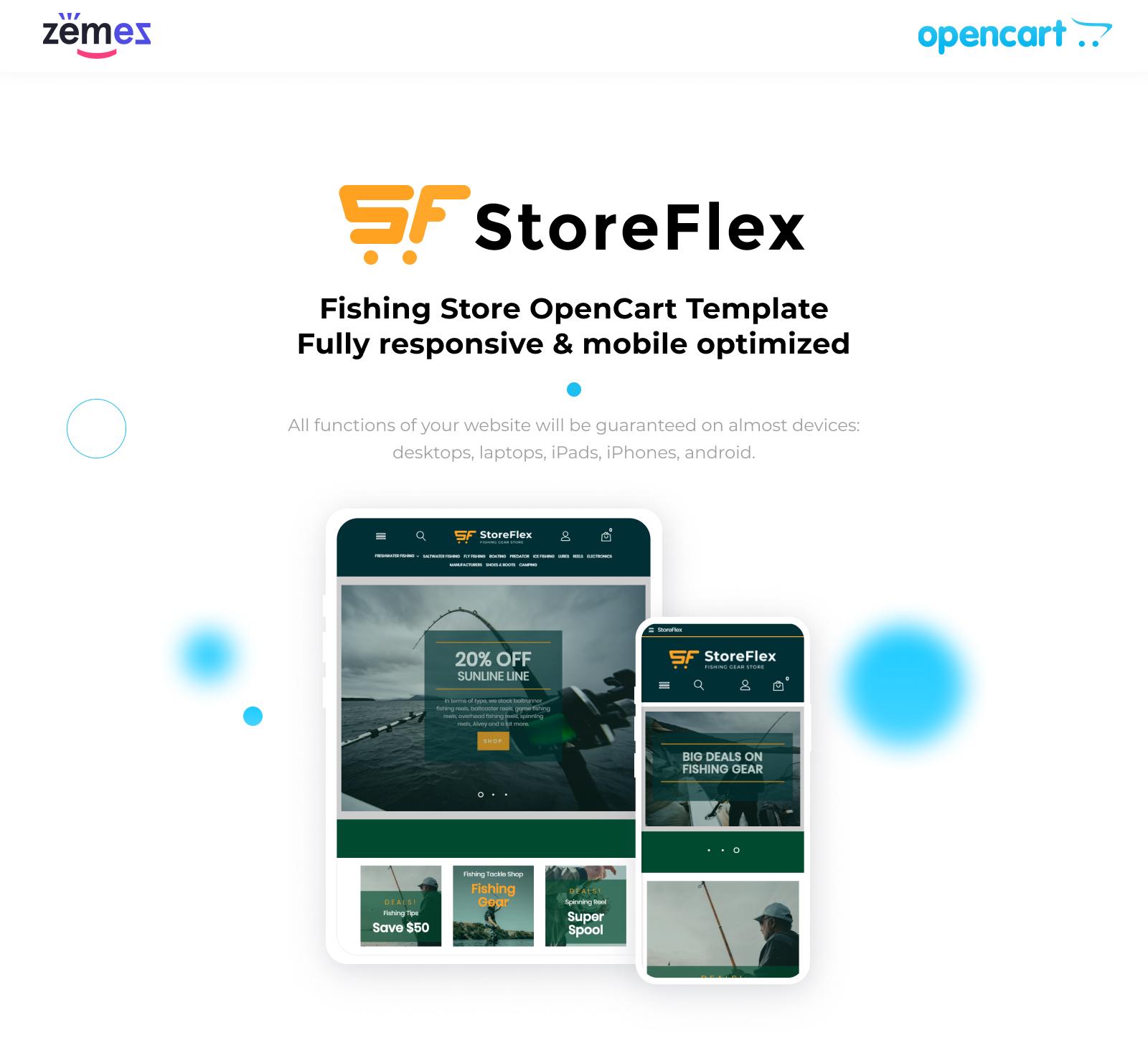 Storeflex Fishing Store Template OpenCart Template