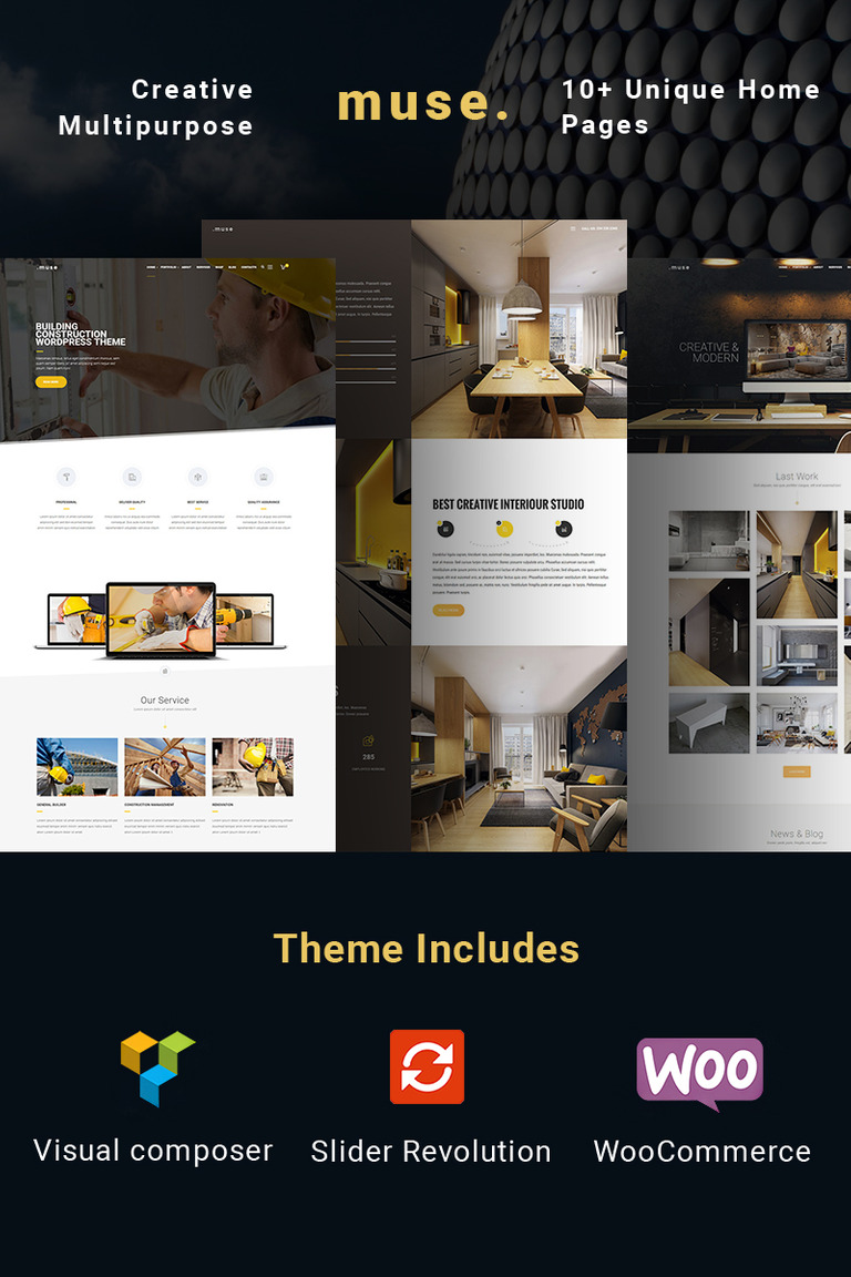 Muse Multipurpose Building Wordpress Theme 64997