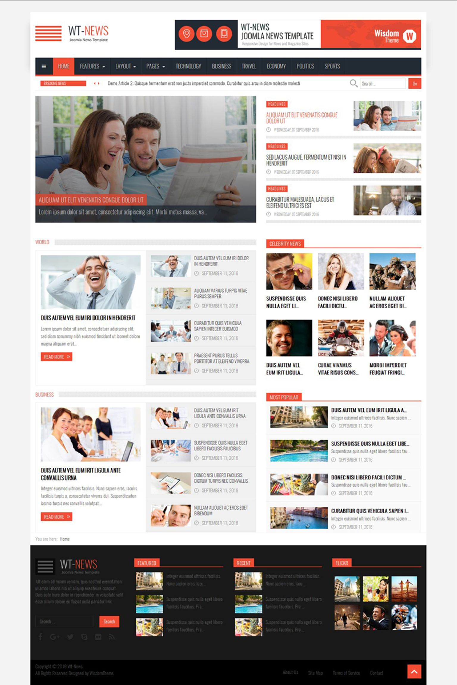 WT News And Magazine Joomla Template 64767