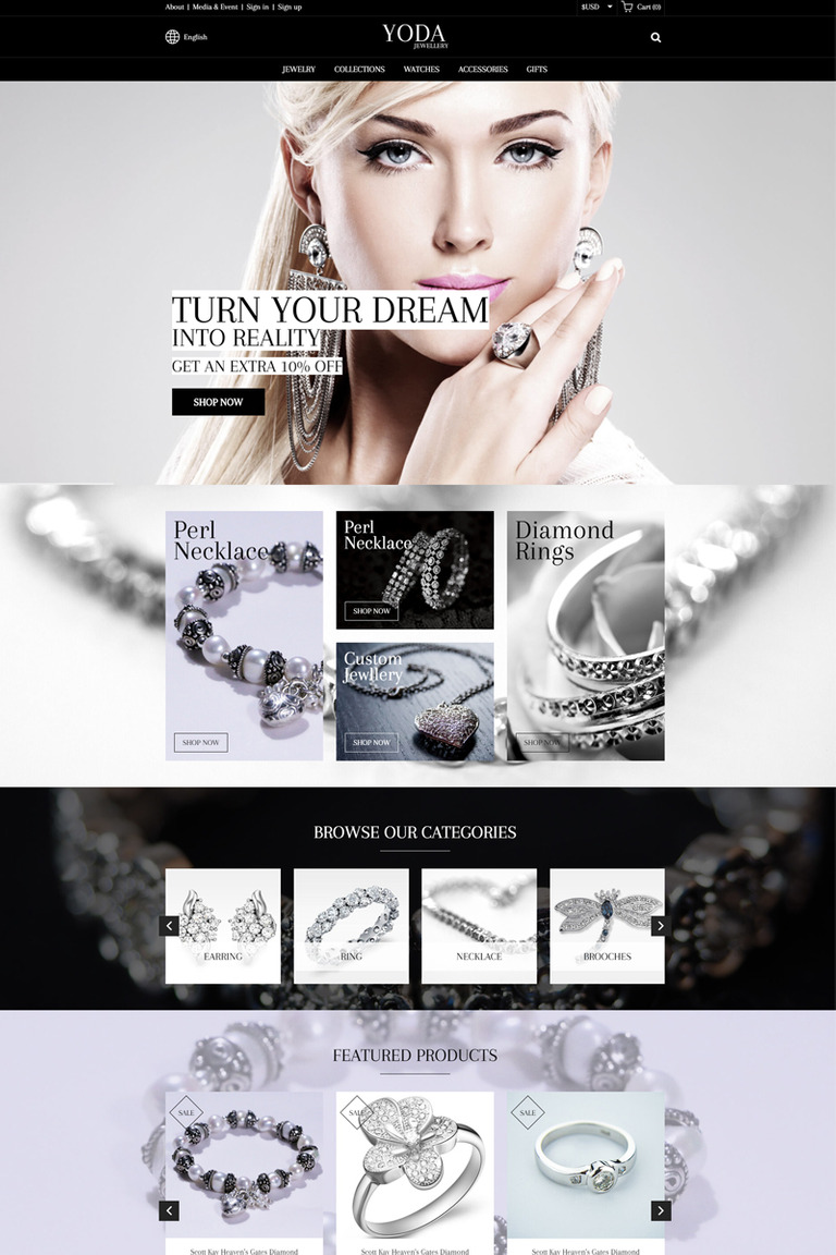 Yoda Jewelry Website Template Big Screenshot