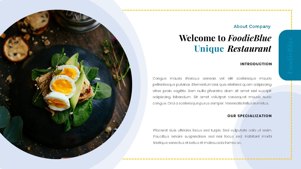 FoodieBlue Food and Restaurant PowerPoint Template