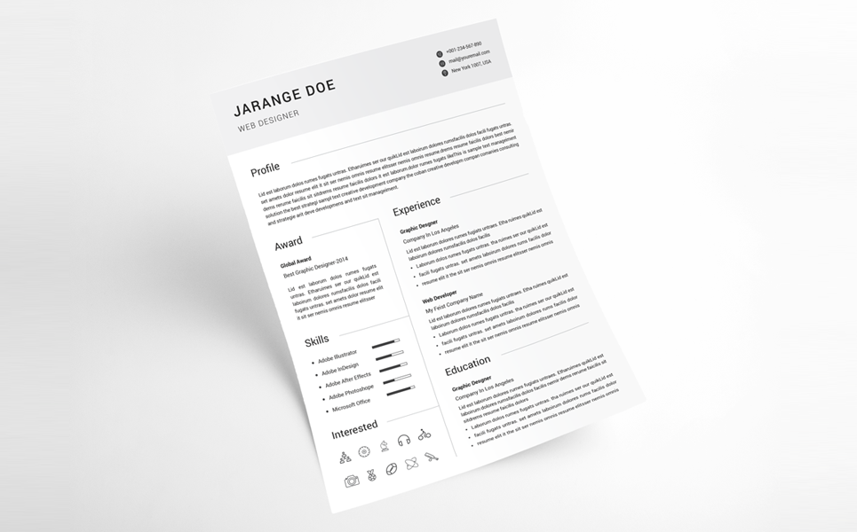 Jarange Doe Clean Resume Template 68402