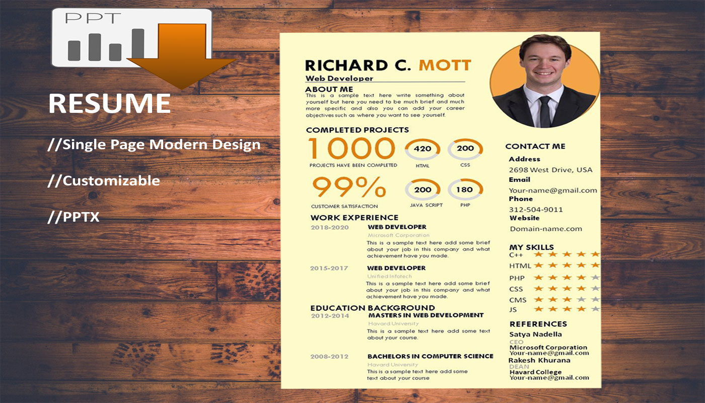 Professional Web Developer Printable Resume Template PowerPoint Template