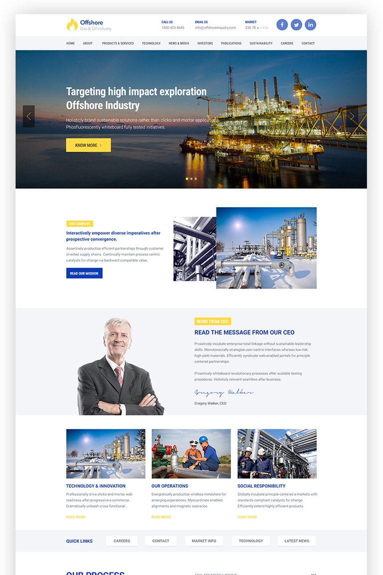 Offshore - Industrial Business Responsive WordPress Theme Big Screenshot