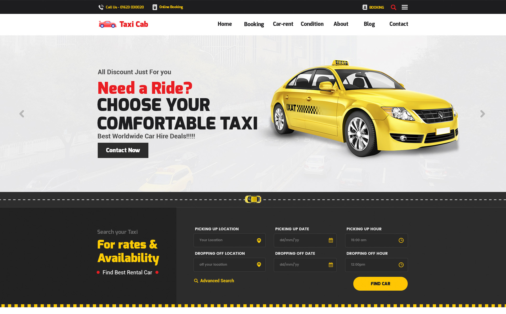 Carrent car rental and hire website template