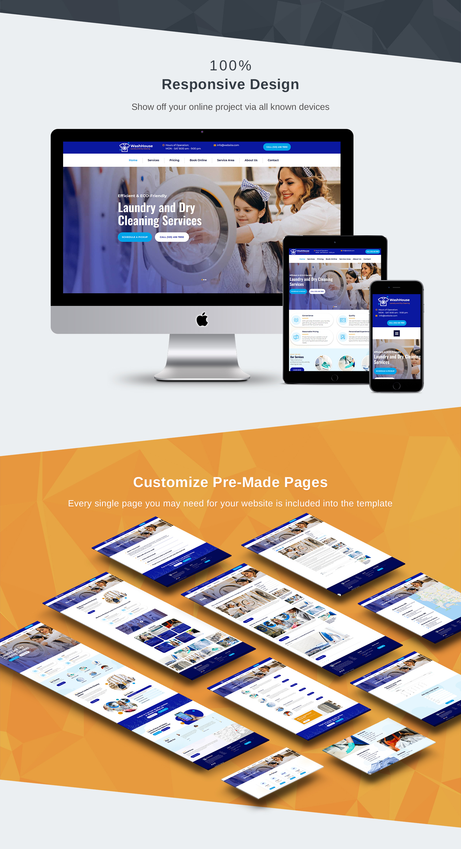 WashHouse - Laundry and Dry Cleaning Moto CMS 3 Template