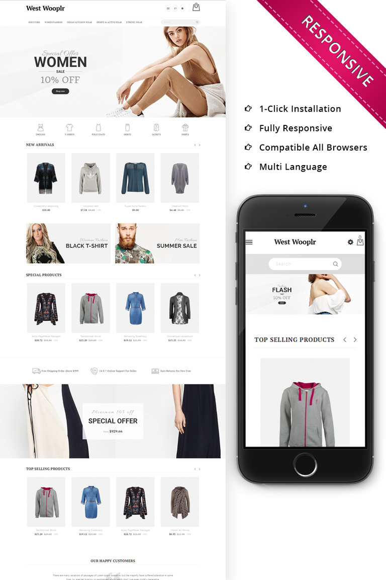 West Wooplr - The Fashion Store PrestaShop Theme #68403