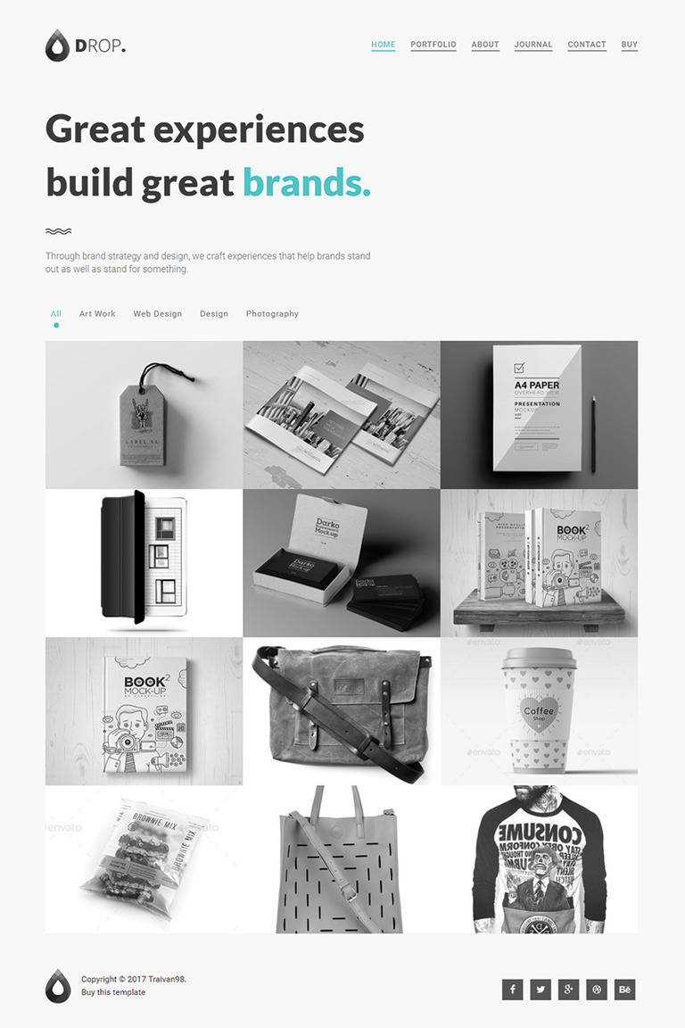 Drop - Creative Personal & Portfolio Minimal Website Template #64998