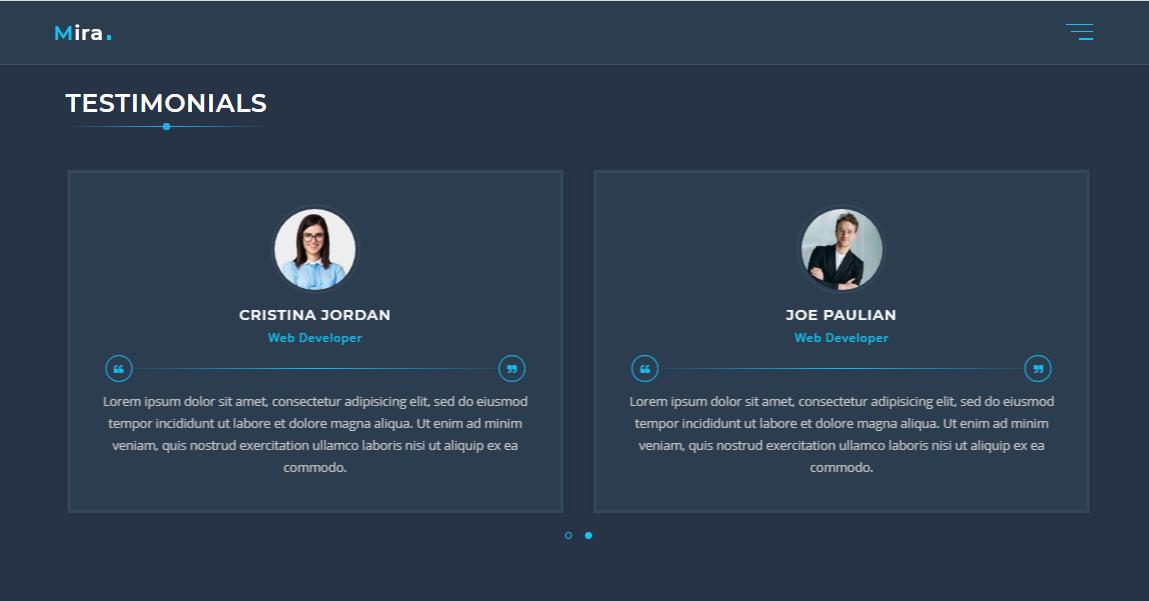 Mira - Personal Portfolio Landing Page Template