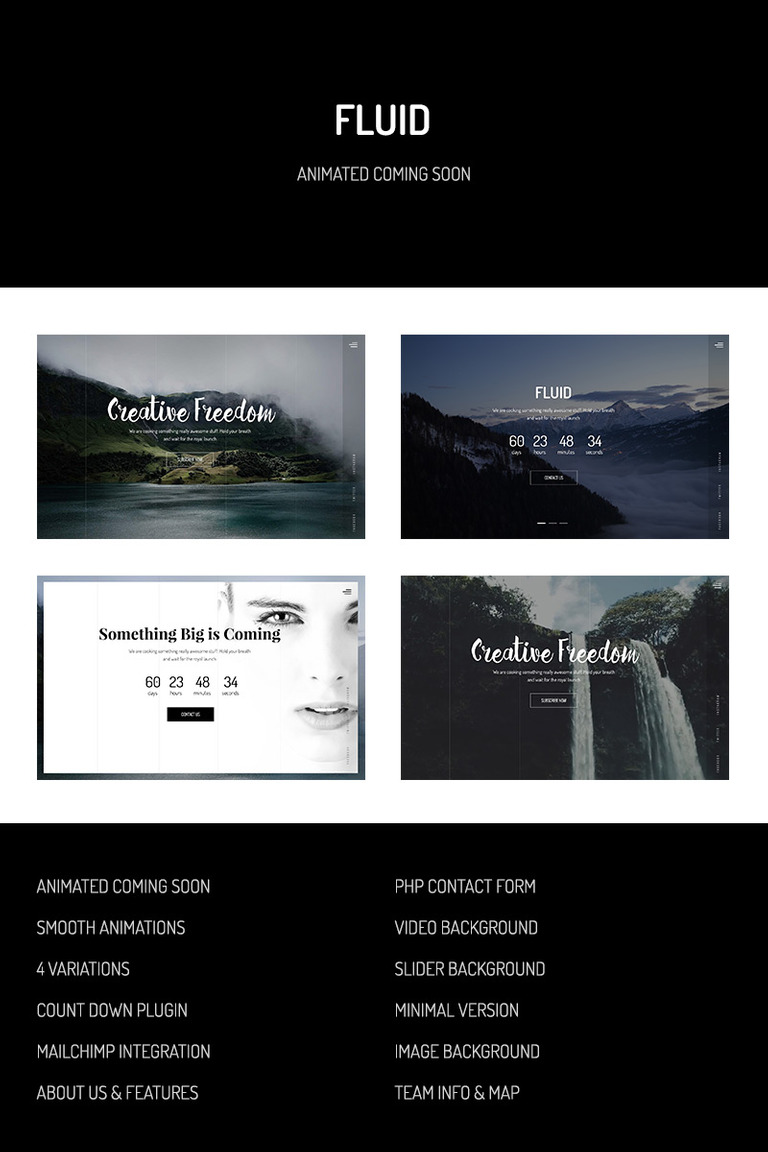 Fluid Animated Coming Soon Template Website Template 64860