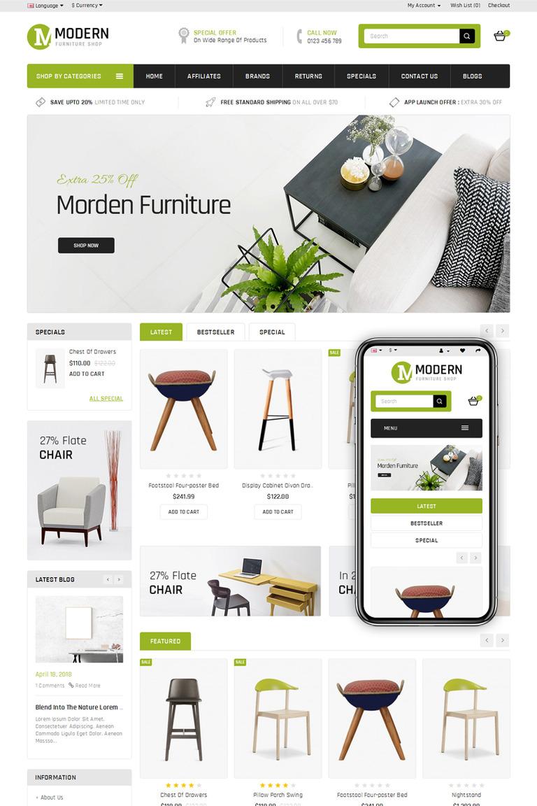 Modern furniture store opencart template new screenshots big