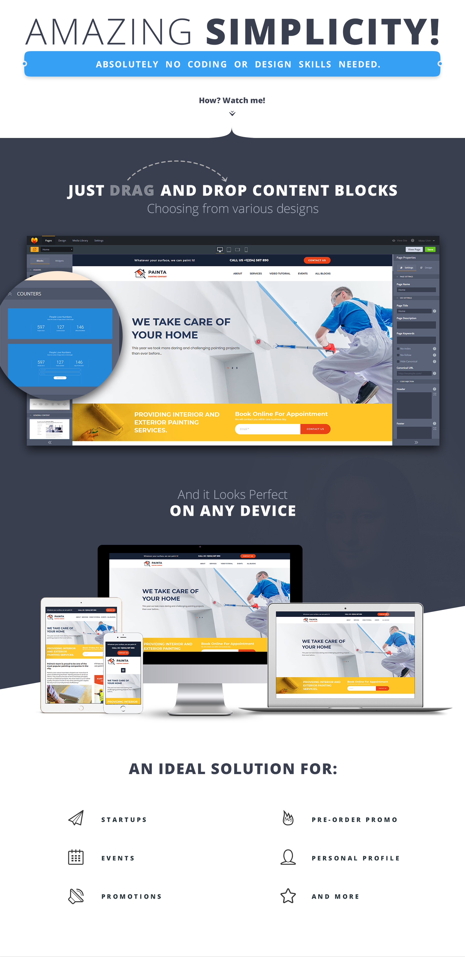 Painta - Painting Company MotoCMS Landing Page Template