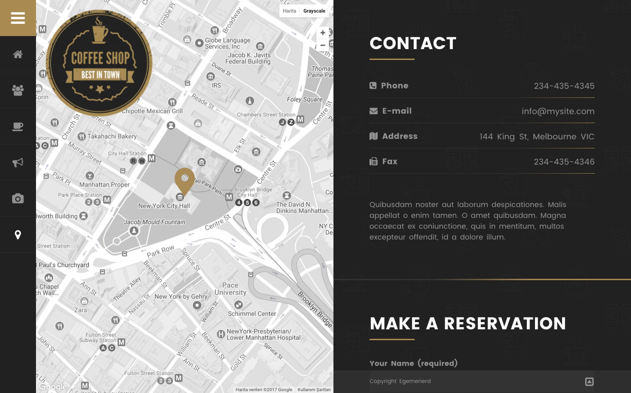 Coffee Shop Cafe Bar Pub Restaurant WordPress Theme