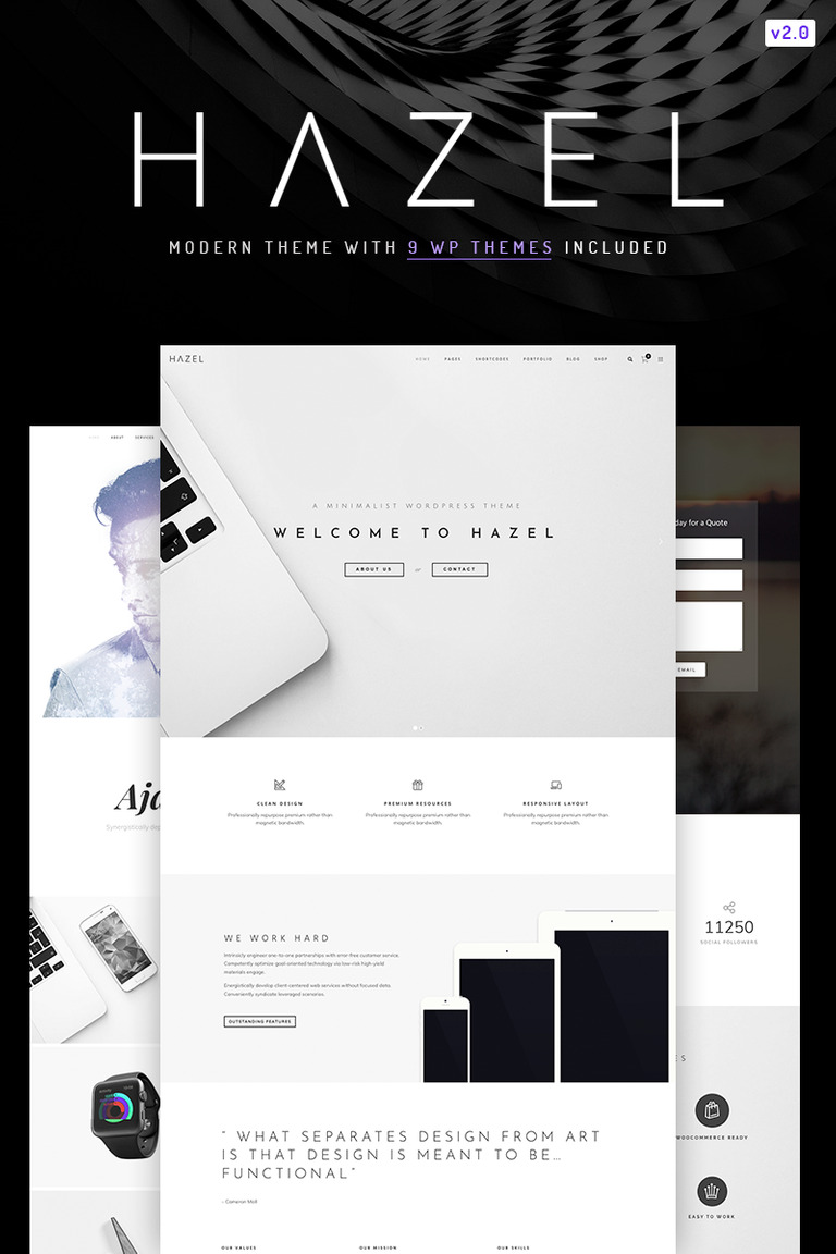 hazel clean minimalist multi purpose wordpress theme 67167