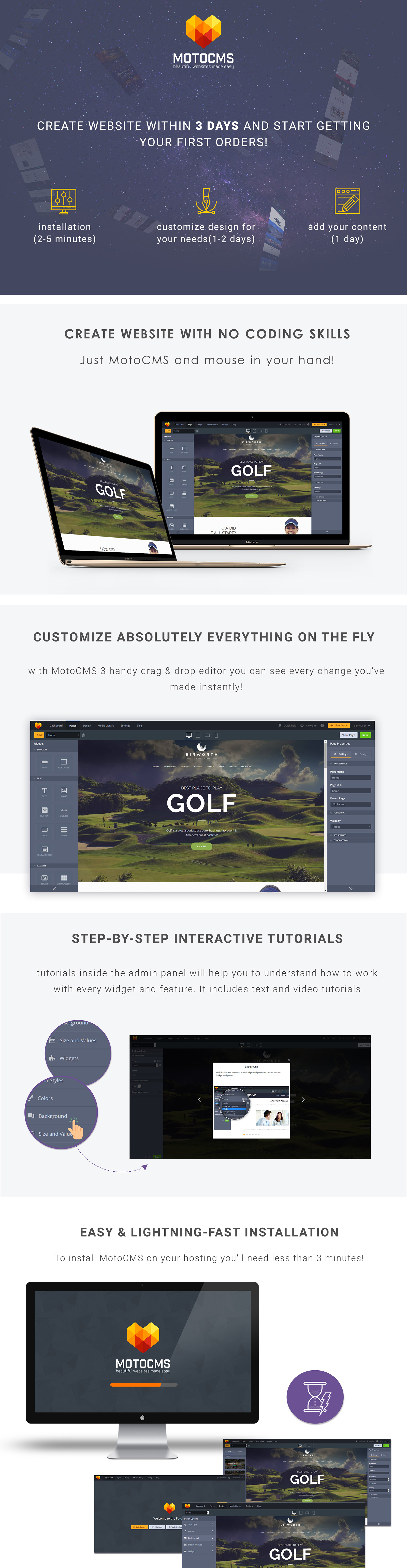 Eirworth - Golfing Club Moto CMS 3 Template