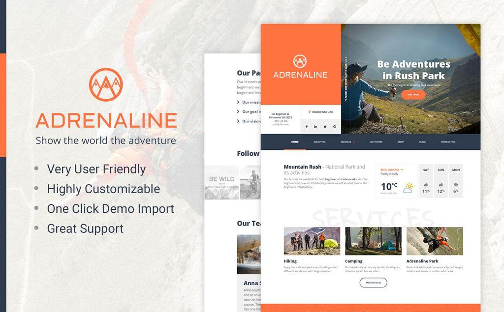 Adrenaline - for adrenaline sports businesses WordPress Theme #64449