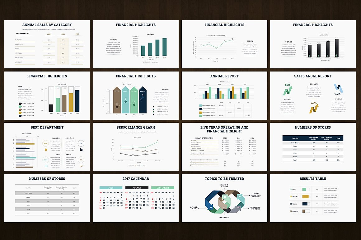 Annual report powerpoint template 65493 for Deal review template