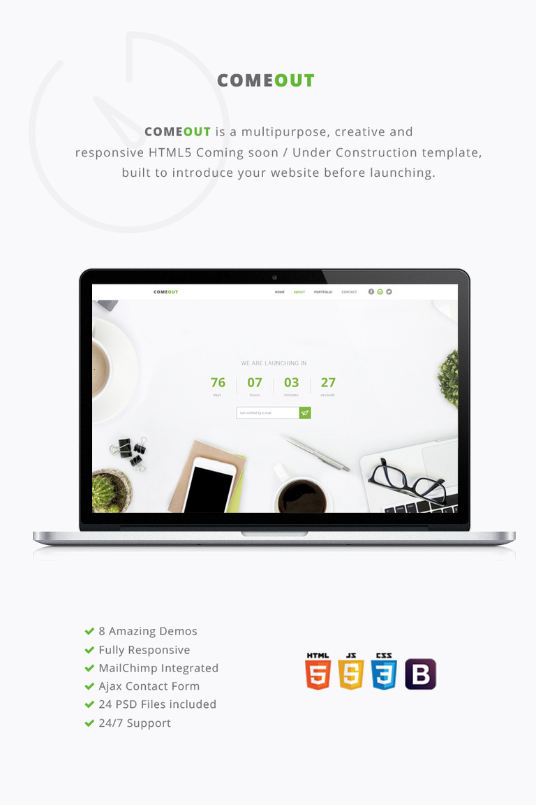 comeout multipurpose coming soon website template 65000