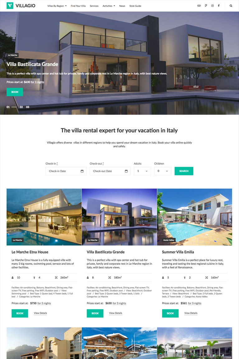 Villagio - Property Booking WordPress Theme Big Screenshot
