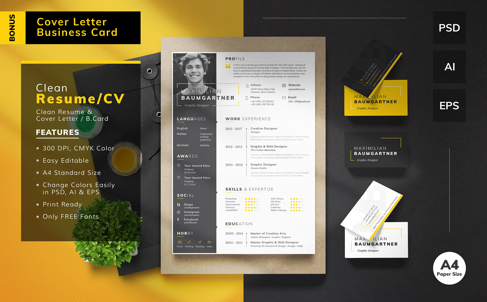 Maximilian Baumgartner  Graphic Designer Resume Template