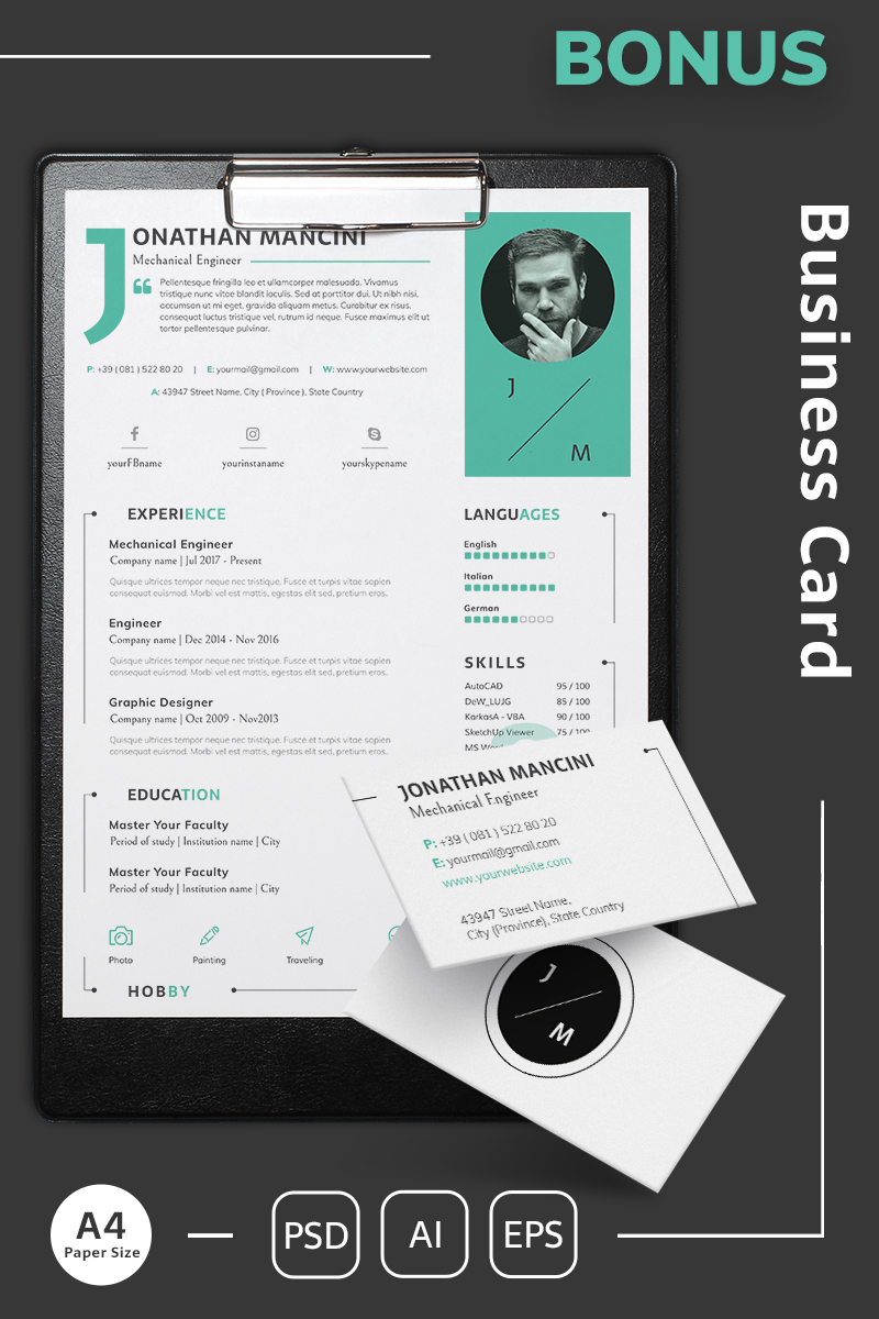 Jonathan Mancini Mechanical Engineer Resume Template Resume - Mechanical-engineering-resume-templates