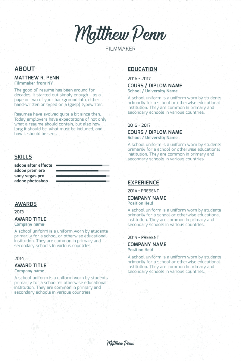 filmmaker resume template