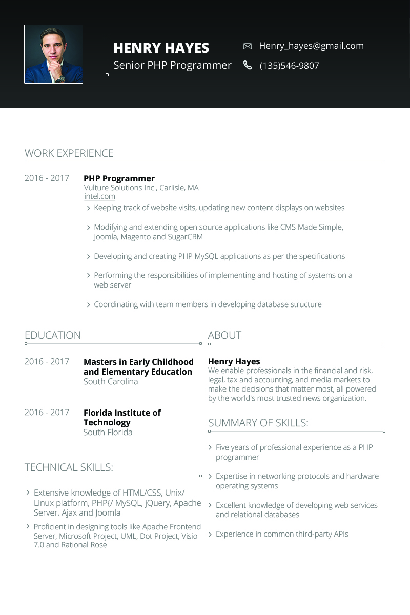 Henry Hayes  Web Developer Resume Template