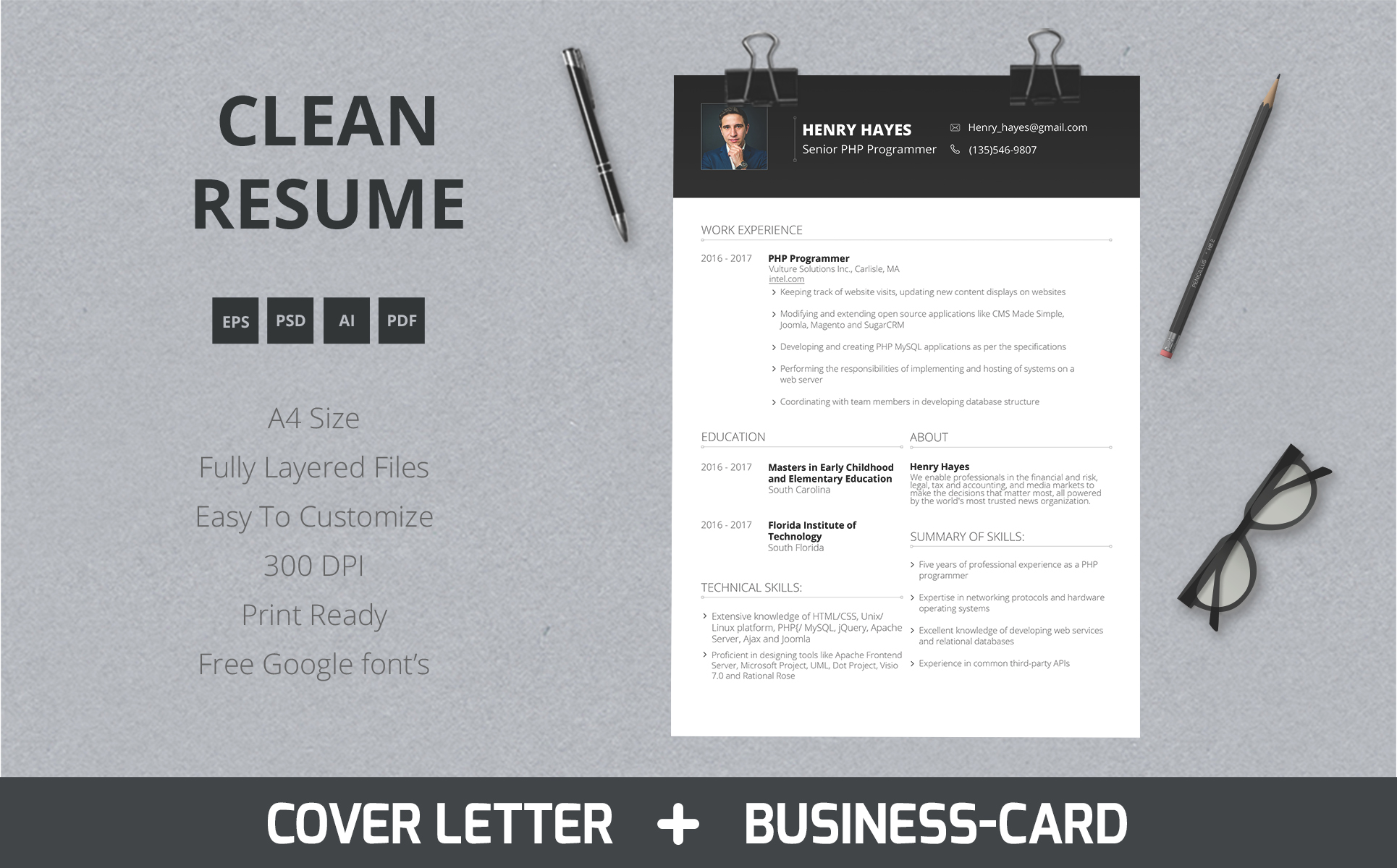 Henry Hayes Web Developer Resume Template 64898